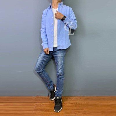GL襯衫夏日穿搭淺藍色長牛津襯衫