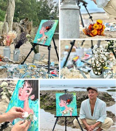 似顏繪乾燥花藝課程