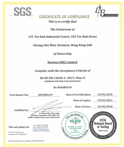 ISO 14644-1:2015 Certification