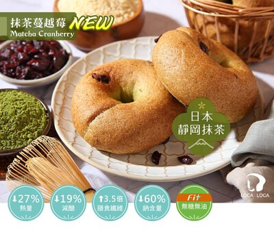 localoca減醣豆渣輕貝果,減醣、高纖、減卡,低碳麵包帶來輕盈生活。(抹茶蔓越莓貝果)