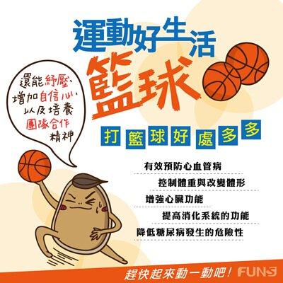 打籃球好處多多,可以有效預防心血管疾病,也能控制體重、改變體型,而且能增強心臟功能,提高消化系統的功能,更能降低糖尿病發生的危險性,還能紓壓、增加自信心,以及培養團隊合作精神。