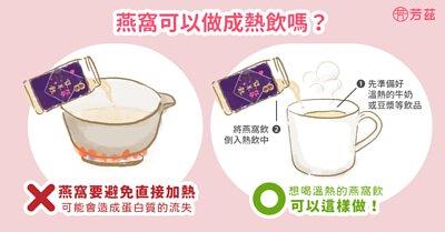 燕窩需要避免直接加熱,可能會造成的蛋白質的破壞及營養的流失。如果真的很想飲用溫熱的燕窩,可以把燕窩加進熱牛奶、熱豆漿等飲品中,這樣既可以食用到溫熱的燕窩飲品,又不會破壞燕窩中的珍貴養分。