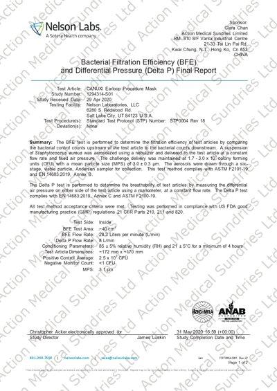 美國 Nelson 檢測中心 細菌過濾率BFE≧99% 及壓力差 <6.0 (Level 3)