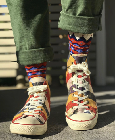 Tanami White socks with  colorful converse