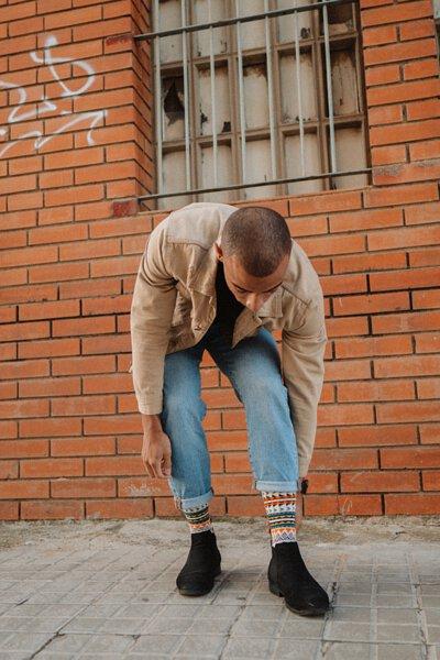 Geometric socks, white beige socks, tribal socks, patterned socks, men socks, comfysocks, boot socks