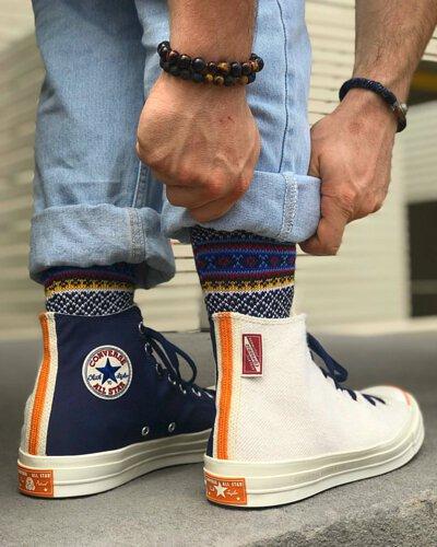 chaouen tribal socks, comfysocks, men socks, socks with chucks, converse with socks, men socks, funky socks, novelty socks