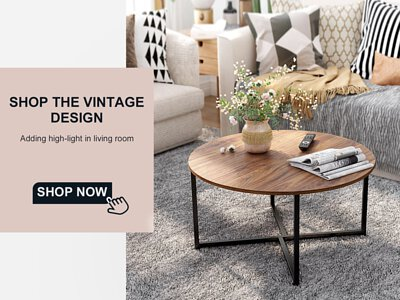 vintage design table in living roon