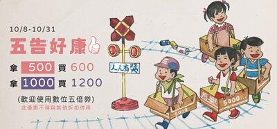 四個小朋友正在玩紙火車,自做自售振興5倍券拿500買600