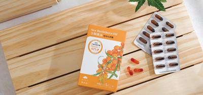 一盒六十粒內含不飽和脂肪酸的植物性沙棘膠囊