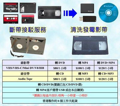 VHS/VHS-C/V8/Hi8/Mini DV錄影帶轉數碼/MP4/USB/DVD|VHS/VHS-C/V8/Hi8/D8/DV/Mini DV Convet to MP4 /DVD/Digital/USB