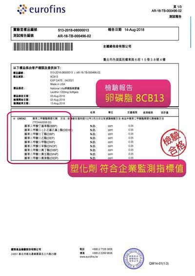 顧可飛卵磷脂檢驗報告皆通過SGS檢驗合格